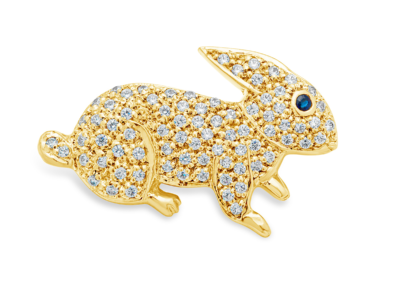 Yellow Gold and Diamond Bunny Pin