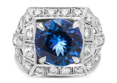 Art Deco Tanzanite and Diamond Ring