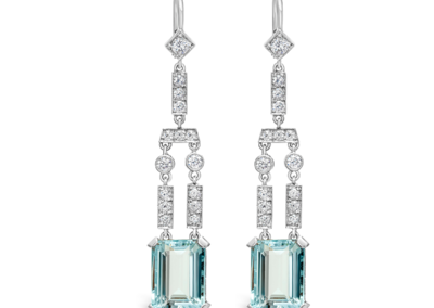Platinum, Aquamarine and Diamond Earrings