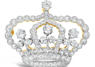 Edwardian Platinum and Diamond Crown Pin