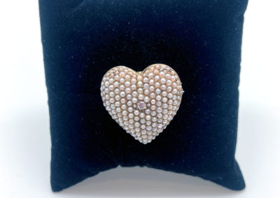 Yellow Gold, Pearl and Diamond Heart Pin