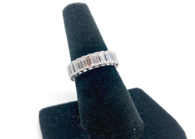 Platinum and Emerald Cut Diamond Eternity Band