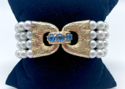 Yellow Gold Pearl and Sapphire Multi-Strand Bracelet