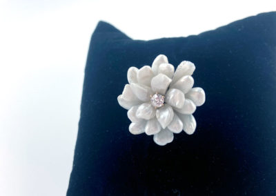 Yellow Gold, Diamond and Baroque Pearl Flower Pin