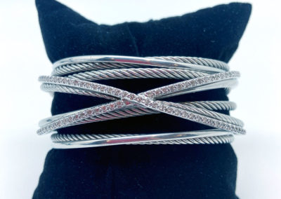 Sterling Silver and Diamond David Yurman Cuff