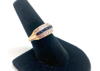 Yellow Gold, Diamond and Sapphire Ring