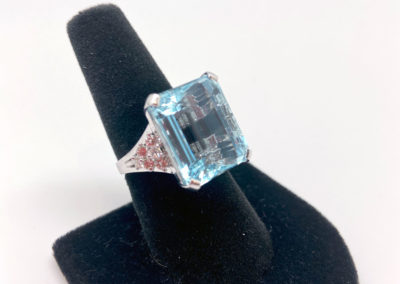 White Gold, Aquamarine and Diamond Ring